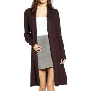 Leith Longline Cardigan Burgundy Fudge Heather